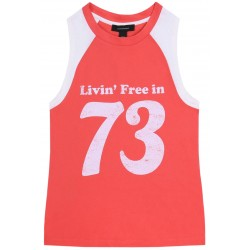 Damska,sportowa,koralowo-beżowa koszulka bez rękawów 73 ATMOSPHERE
