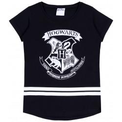 Czarna, dziewczęca koszulka z krótkim rękawkiem HOGWARTS