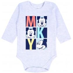 Szare body niemowlęce na długi rękaw Myszka Mickey DISNEY