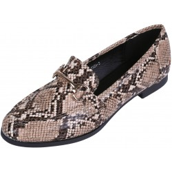 Snake Pattern Moccasins With Gold Buckle, Eco Leather VICES