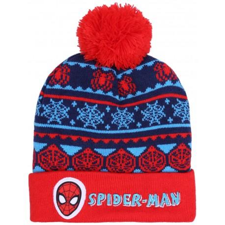 Czerwono-niebieska,ciepła chłopięca czapka w zimowy wzór z logo SPIDER_MAN