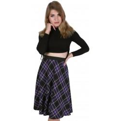 ASOS Spódnica midi w fioletowo-czarną kratkę