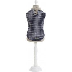 Granatowo-szary, wełniany pulower dla psa 25, 30, 40 cm