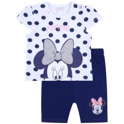 Biało-niebieski komplet niemowlęcy w kropki, koszulka + spodenki Myszka Minnie Disney