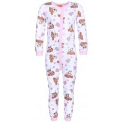 Biało-różowa dziewczęca piżama jednoczęściowa,kombinezon SKAY Psi Parol