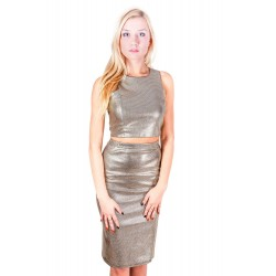 John Zack Gold Pencil Skirt