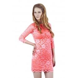 ASOS koronkowa, koralowa - NEON sukienka mini