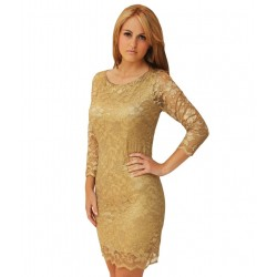 ASOS koronkowa, złota sukienka mini
