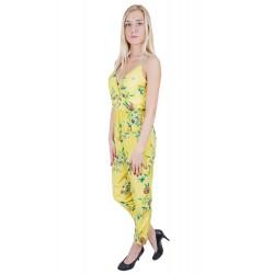 ASOS Żółty kombinezon w kwiaty spodnium overal