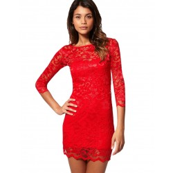 ASOS koronkowa, czerwona sukienka