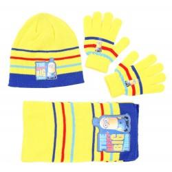 Żółty zestaw: szalik, rękawiczki, czapka MINIONKI