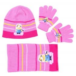 Różowo-żółty zestaw: szalik, rękawiczki, czapka MINIONKI