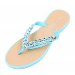 Beautiful Baby Blue Flip Flops With A Decorative Chain
