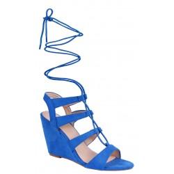 Niebieskie, wiązane sandały na koturnach VICES