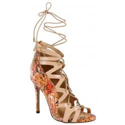 Beżowe, wiązane sandały na szpilce VICES