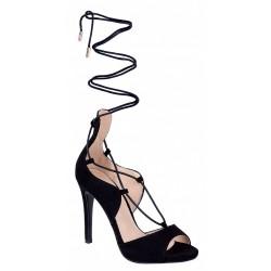 Czarne, wiązane sandały na szpilce VICES