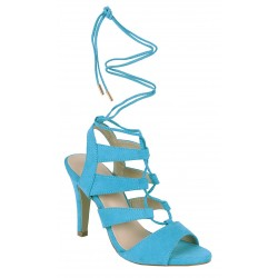 Niebieskie, wiązane sandały na szpilce VICES