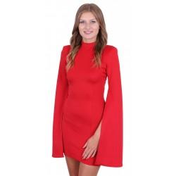 ASOS Czerwona sukienka mini rozcięte rękawy