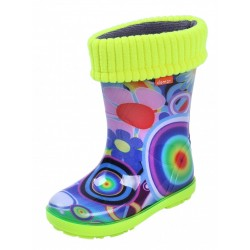 Demar Girls Wellington Boots Rain Snow Wellies PVC Warm Liners Rainbow