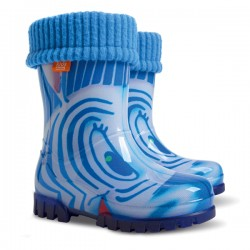 Demar Boys Girls Wellington Boots Rain Snow Wellies PVC Liners Zebra Blue