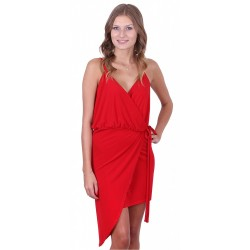 Red Asymmetric & Wrap Over Mini Dress by John Zack