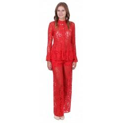 ASOS Czerwone, koronkowe spodnie dzwony
