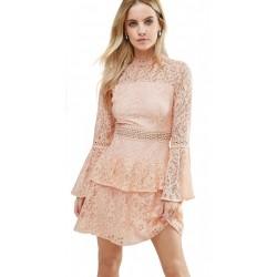 ASOS Łososiowa, koronkowa sukienka mini