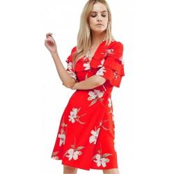 ASOS Pomarańczowa sukienka mini - kwiaty