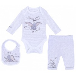Grey, Bodysuit & Leggings & Bandana Bib Set For Baby Boys DUMBO DISNEY