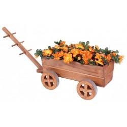 Drewniany kwietnik ozdobny - wóz
