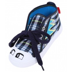 Boys Navy Blue/Checked, Eyes On The Toe Cap, Shoes, Slippers, Sneakers LEMIGO