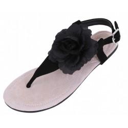 Czarne sandałki z kwiatem PRIMARK