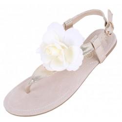 Złote sandały z beżowym kwiatem
