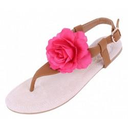 Brązowe sandały z  różowym kwiatem PRIMARK