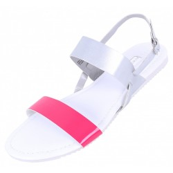 White/Silver/Pink, Faux-Leather Sandals, Shoes For Ladies