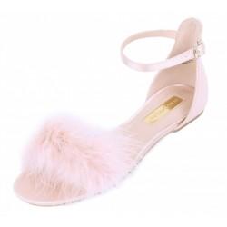 Różowe (nude) satynowe sandały piórka PRIMARK