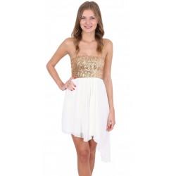 Beige Sequin Bandeau Top Asymmetric Lightweight Chiffon Mini Dress John Zack