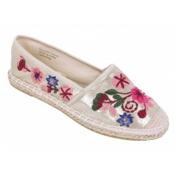 Gold Espadrilles With Colourful Embroided Flowers