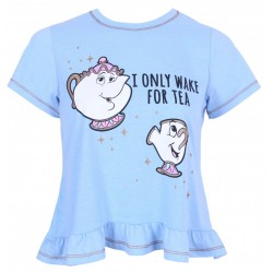 DISNEY PRINCESS BEAUTY AND THE BEAST Short Sleeve Pyjama Top T-Shirt Sleepwear