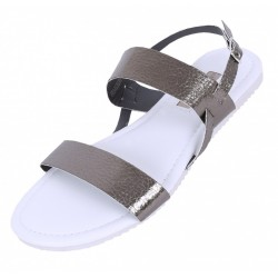 White, Silver Metallic Straps Sandals, Shoes For Ladies