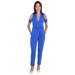 Blue, Cold Shoulder Cut, Wrap Front,  Jumpsuit For Ladies By John Zack