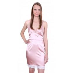 John Zack Women Satin Mini Laced Pink Dress
