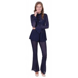 John Zack Navy blue lacy kickflare trousers