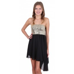 Black Sequin Bandeau Top & Asymmetric Lightweight Chiffon Mini Dress By John Zack
