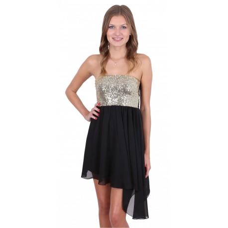 Black Sequin Bandeau Top & Asymmetric Lightweight Chiffon Mini Dress By John Zack