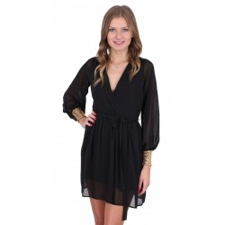 Black Lightweight Soft-Touch Chiffon & Sequin Stretch Cuffs Mini Dress John Zack