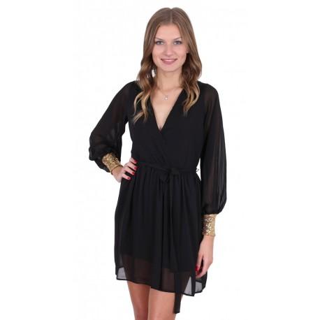 Black Lightweight Soft-Touch Chiffon & Sequin Stretch Cuffs Mini Dress John Zack