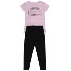 Pink Marl T-shirt & Black Bottoms Pyjama Set For Girls Young Dimension
