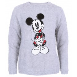 Grey, Long Sleeved Top, Jumper, Sweater For Ladies Mickey Mouse DISNEY