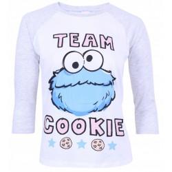 Grey, 3/4 Length Sleeved Top, Shirt For Ladies Cookie Monster Sesame Street